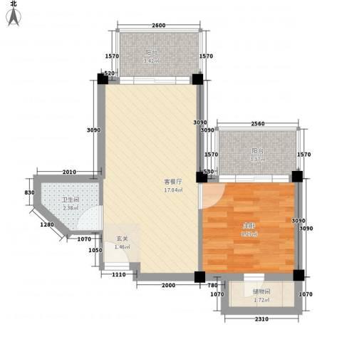 润扬广场1室1厅1卫0厨53.00㎡户型图