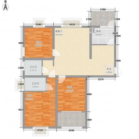 众兴・嘉城3室1厅2卫1厨131.00㎡户型图