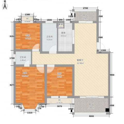 仁和英伦皇家花园3室1厅2卫1厨126.00㎡户型图