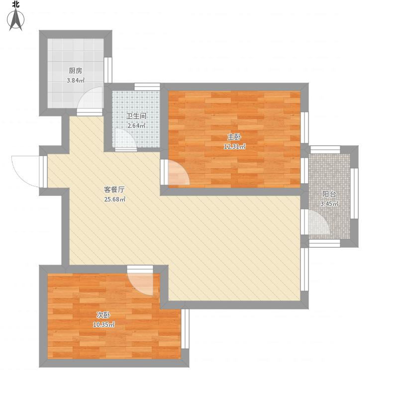 塞上翡翠城E3户型2室2厅1卫1厨面积84.60㎡