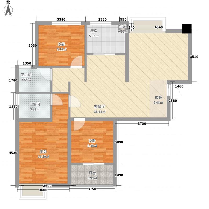 龙海明发广场125.00㎡1#楼B1户型3室2厅2卫1厨