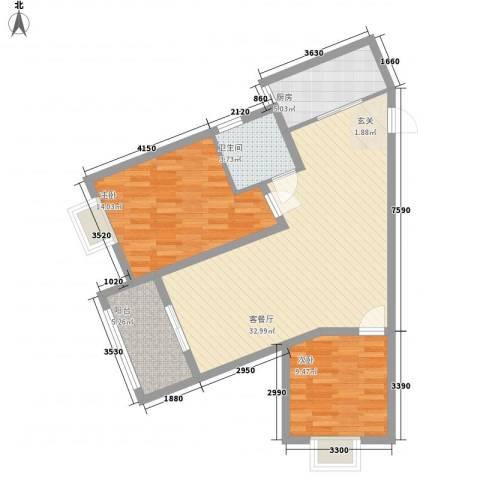 众兴・嘉城2室1厅1卫1厨70.51㎡户型图