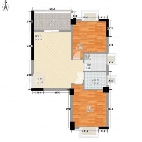 龙海明发广场2室1厅1卫1厨62.78㎡户型图