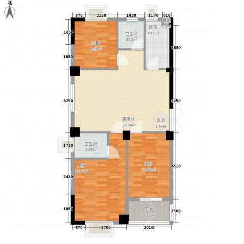 龙海明发广场3室1厅2卫1厨80.10㎡户型图