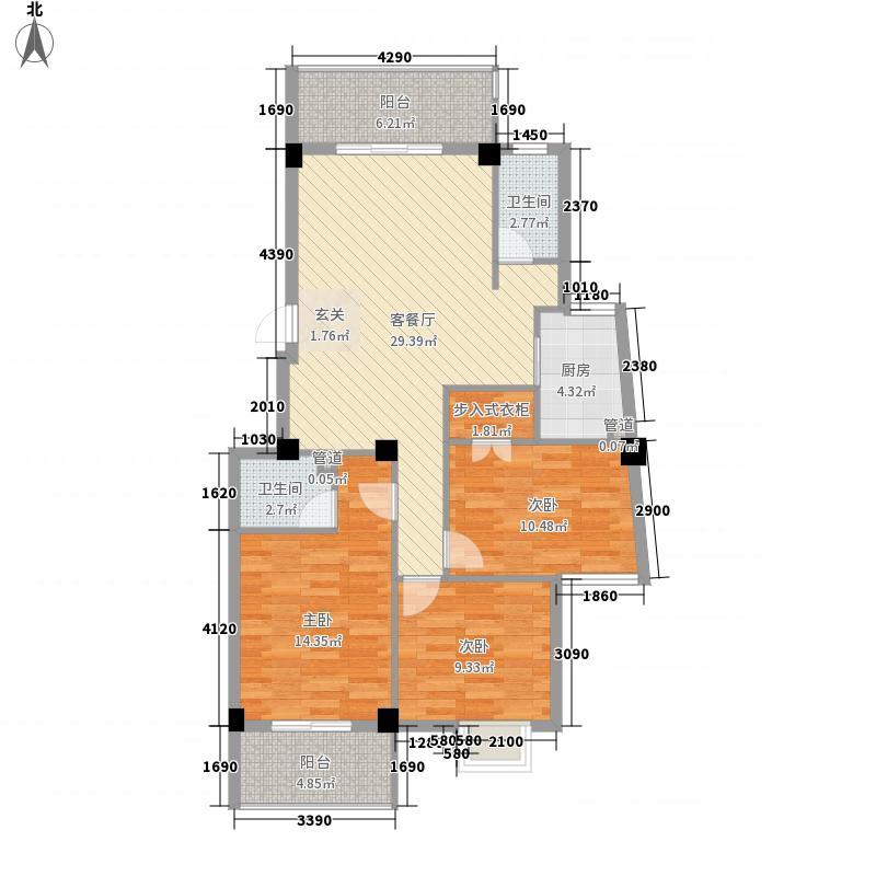 摩卡小镇125.00㎡B503、05、06、07单元户型3室2厅2卫1厨
