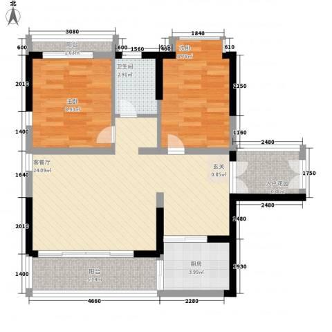 珍珠海岸花园2室1厅1卫1厨86.00㎡户型图