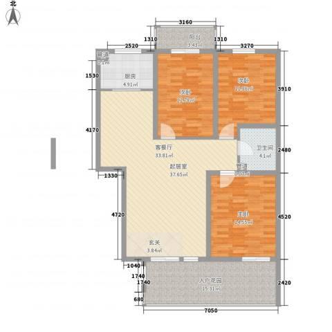 朝阳花园3室0厅1卫1厨104.74㎡户型图