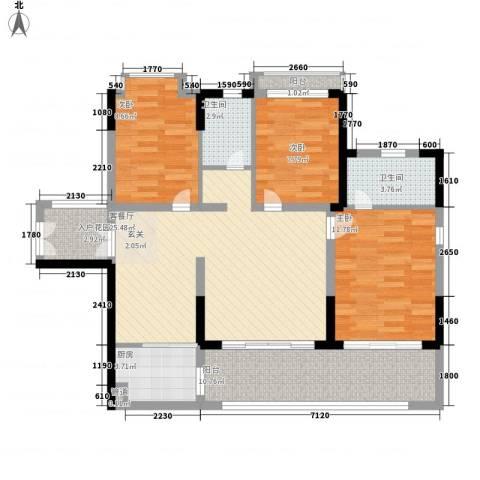 珍珠海岸花园3室1厅2卫1厨115.00㎡户型图