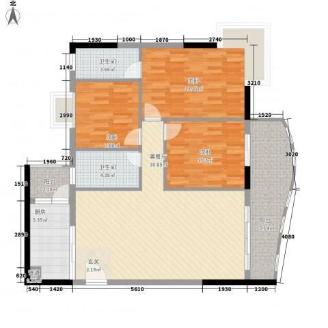 金狮华庭3室1厅2卫1厨123.00㎡户型图