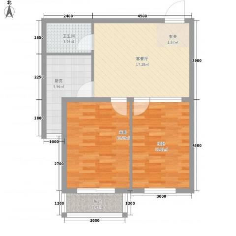 晨馨花园2室1厅1卫1厨82.00㎡户型图
