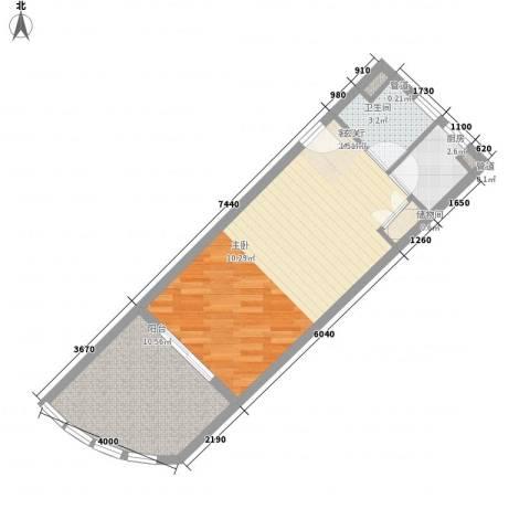 中州国际酒店1厅1卫1厨47.80㎡户型图