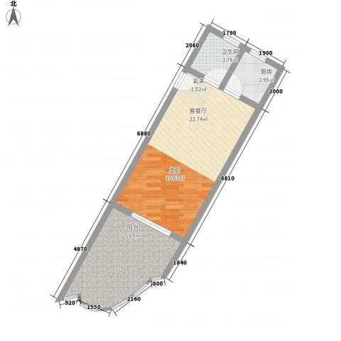 中州国际酒店1厅1卫1厨46.72㎡户型图