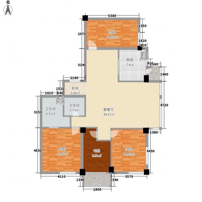 外滩花园178.00㎡B户型3室2厅1卫1厨