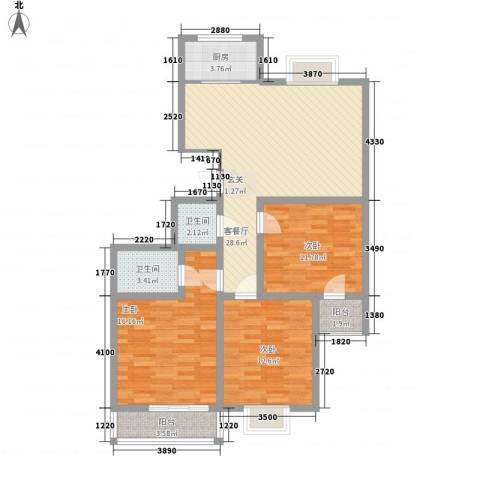 万聚鑫盛苑3室1厅2卫1厨122.00㎡户型图