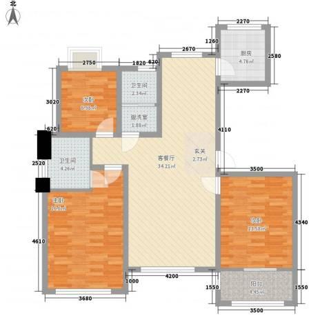 东发现代城山水园3室1厅2卫1厨127.00㎡户型图