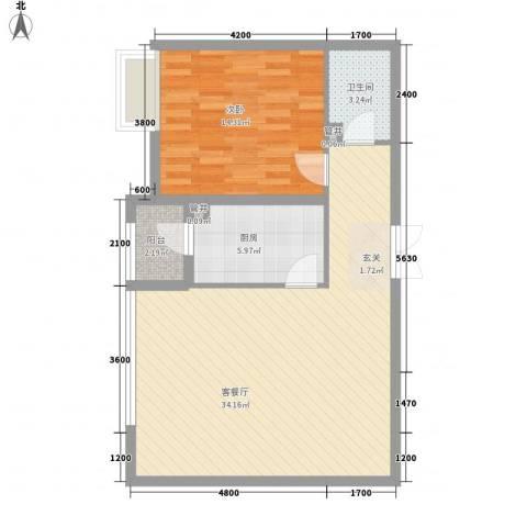 盟科视界1室1厅1卫1厨60.03㎡户型图