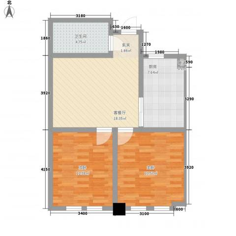 东发现代城山水园2室1厅1卫1厨83.00㎡户型图