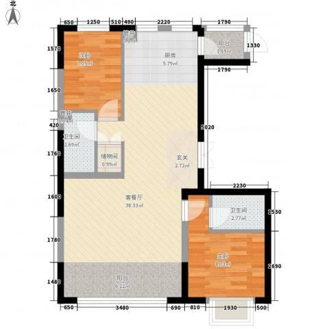 盟科视界2室1厅2卫0厨89.00㎡户型图