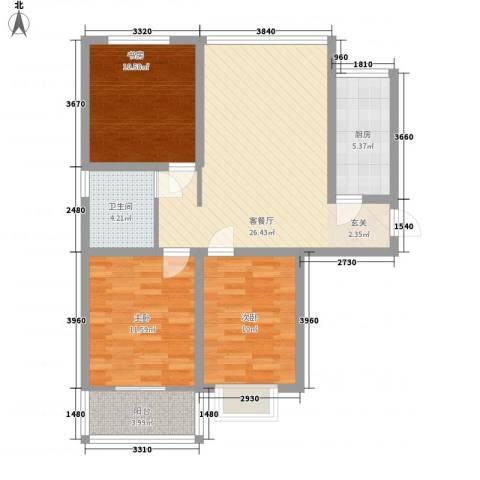 东发现代城山水园3室1厅1卫1厨72.16㎡户型图