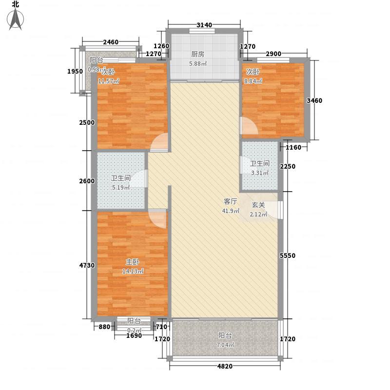 天庆嘉园135.00㎡户型3室