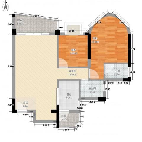碧水湾2室1厅2卫1厨67.68㎡户型图