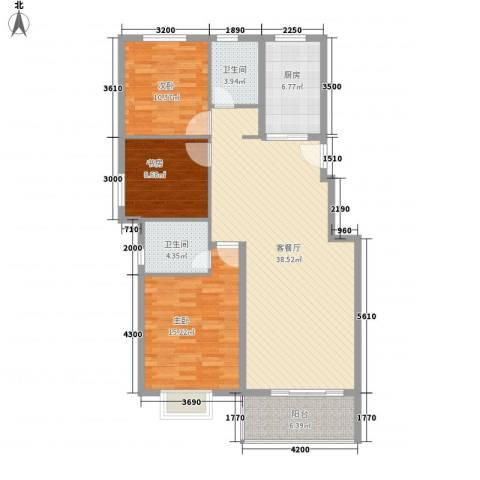 外滩花园3室1厅2卫1厨132.00㎡户型图
