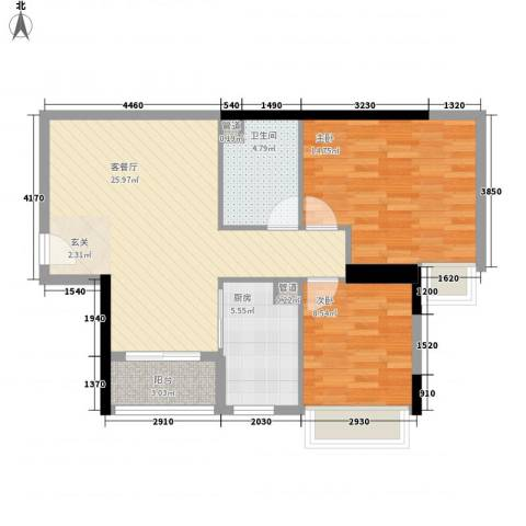 中强雅苑2室1厅1卫1厨72.00㎡户型图
