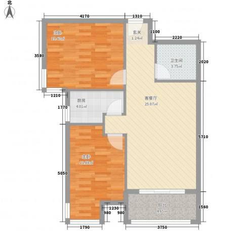 罗马花园2室1厅1卫1厨88.00㎡户型图