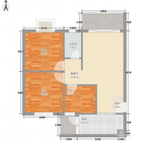 汇星苑3室1厅1卫1厨83.00㎡户型图