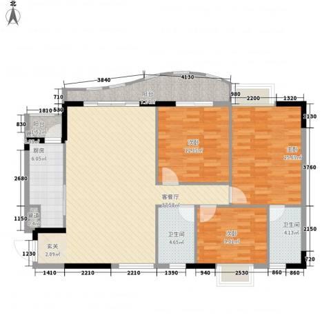 金狮华庭3室1厅2卫1厨124.00㎡户型图