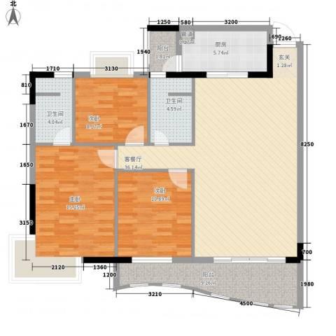 金狮华庭3室1厅2卫1厨120.00㎡户型图