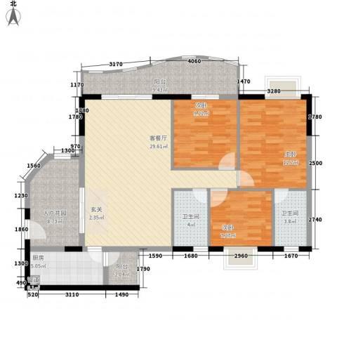 金狮华庭3室1厅2卫1厨130.00㎡户型图