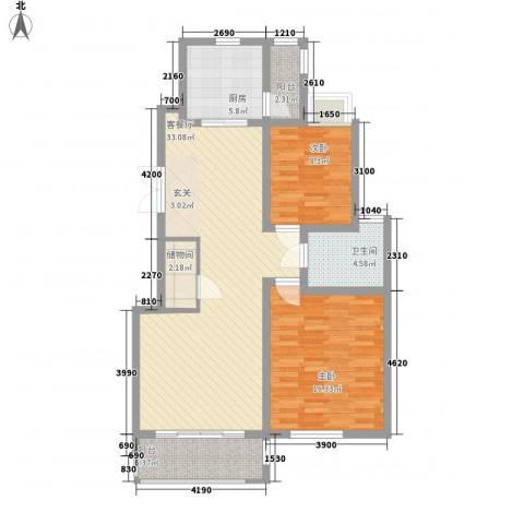 亿城山水颐园2室1厅1卫1厨108.00㎡户型图