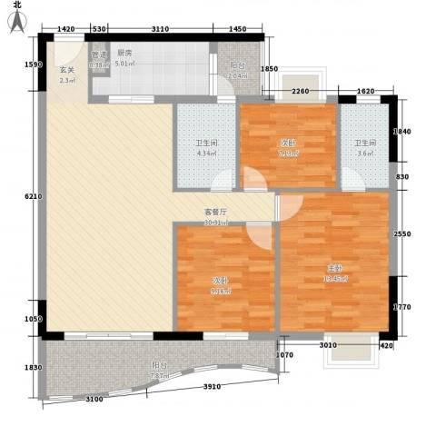金狮华庭3室1厅2卫1厨118.00㎡户型图