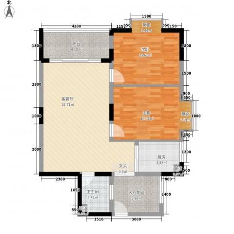 古龙商城2室1厅1卫1厨108.00㎡户型图