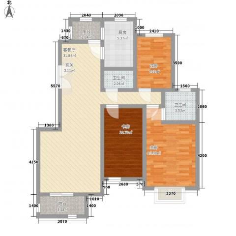 亿城山水颐园3室1厅2卫1厨138.00㎡户型图