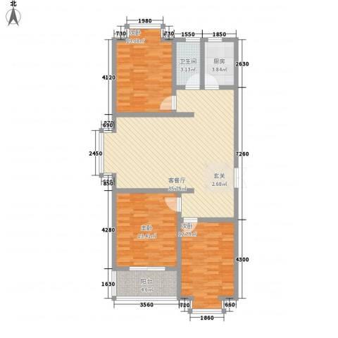 都市怡景三期3室1厅1卫1厨122.00㎡户型图