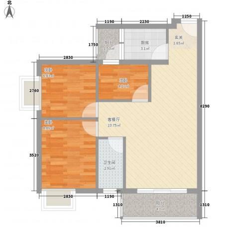 汇星苑3室1厅1卫1厨79.00㎡户型图