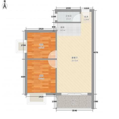 汇星苑2室1厅1卫0厨64.00㎡户型图