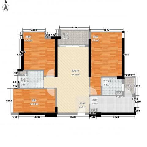 海伦湾3室1厅2卫1厨97.83㎡户型图