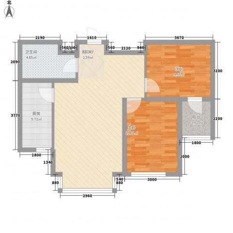 明城嘉苑二期2室1厅1卫1厨94.00㎡户型图