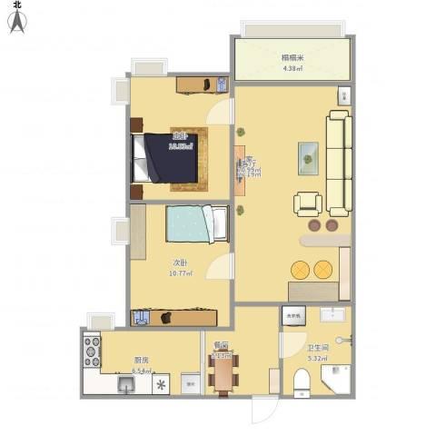明湖花园2室2厅1卫1厨88.00㎡户型图
