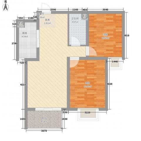 北部时光2室1厅1卫1厨85.00㎡户型图
