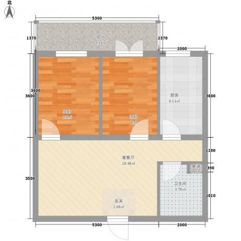 郡宇・万象城2室1厅1卫1厨75.00㎡户型图