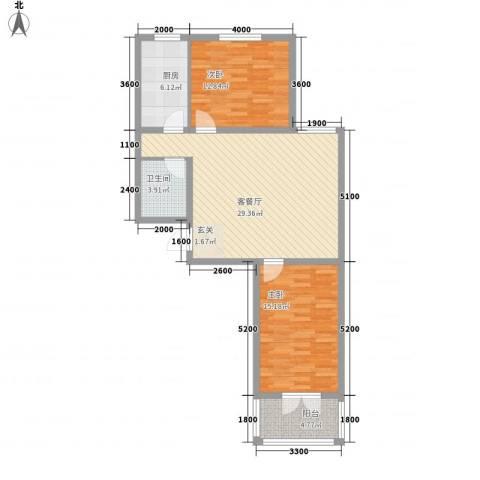 郡宇・万象城2室1厅1卫1厨104.00㎡户型图