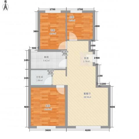 青年路东陵里电力单位房3室2厅1卫1厨82.00㎡户型图