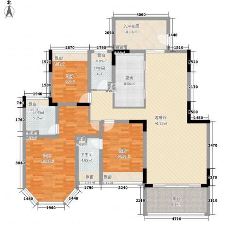 御泉山3室1厅3卫1厨180.00㎡户型图