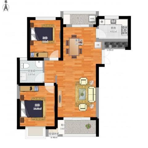 蓝鼎滨湖假日清华园2室1厅1卫1厨94.00㎡户型图