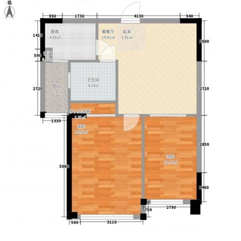 滨河庭苑2室1厅1卫1厨86.00㎡户型图