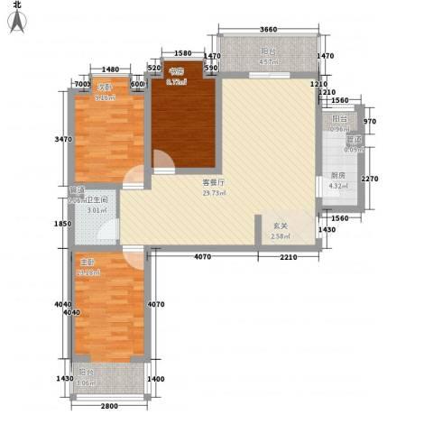 水木青城3室1厅1卫1厨103.00㎡户型图